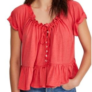 COPY - NWT Free People Red Charlie Tee Shirt Size…